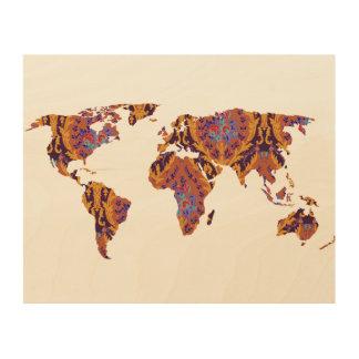 Böhmisches gemustertes Holz der Weltkarten-| der Holzdruck