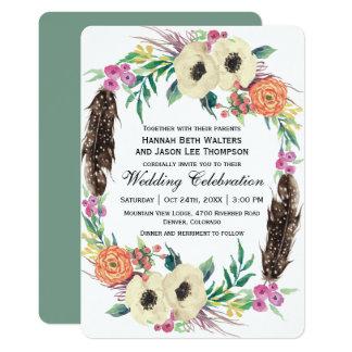 Boho BlumenAquarell-Hochzeit 12,7 X 17,8 Cm Einladungskarte