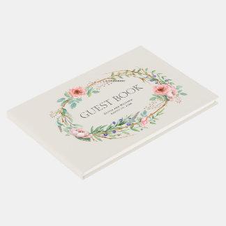 Boho BlumenKranz mit Ihrem kundenspezifischen Text Gästebuch