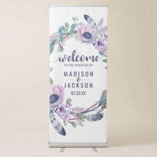 Boho Feder u. BlumenKranz-Hochzeits-Willkommen Ausziehbarer Banner