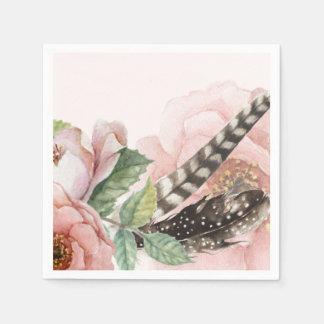 Boho Federn und Blumen Papierserviette