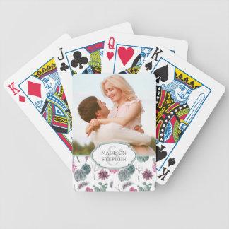 Boho Kaktus, saftig u. mit Blumen - Hochzeits-Foto Poker Karten