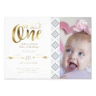 Boho laden wildes   erstes Geburtstags-Party ein 12,7 X 17,8 Cm Einladungskarte
