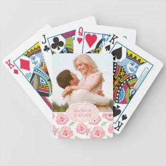 Boho rosa RoseblumenWatercolor - Hochzeits-Foto Spielkarten