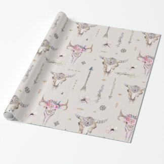 Boho Schädel, Blumen und Pfeil-Muster Geschenkpapier