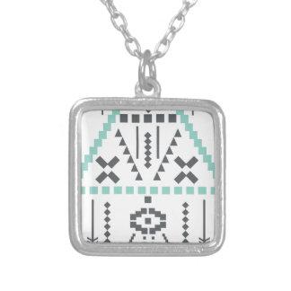 Boho Totem, ethnisches Symbol, Hippie, Azteke, Halskette Mit Quadratischem Anhänger