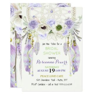 Boho Traumfänger versieht Lavendel-Grün mit Federn 12,7 X 17,8 Cm Einladungskarte