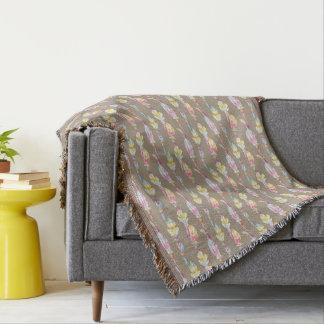 Boho versieht Perlen-Aquarellkunst-Muster-Wurf mit Decke