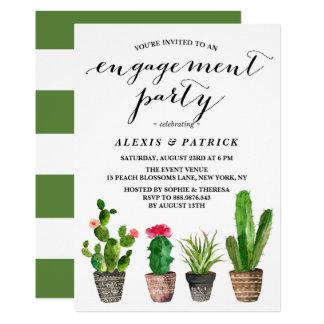Boho Watercolorsucculents-Sommer-Verlobungs-Party 12,7 X 17,8 Cm Einladungskarte