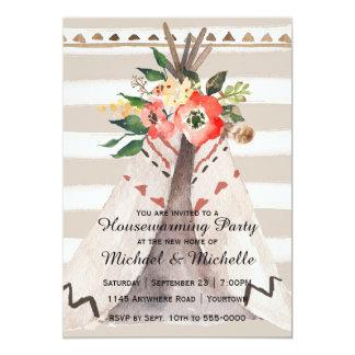 Boho WatercolorTeepeehousewarming-Party 12,7 X 17,8 Cm Einladungskarte