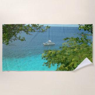 Bonaire-Meerblick mit Boots-Badetuch Strandtuch