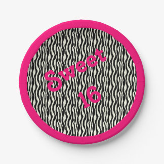 Bonbon16 Zebra-Druck mit rosa Grenze Pappteller