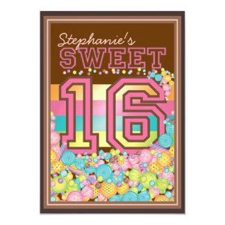 Bonbon 16 sechzehn Süßigkeits-Sammlung in rosa 12,7 X 17,8 Cm Einladungskarte