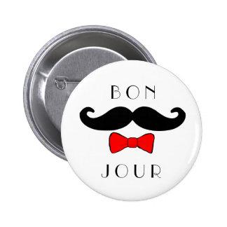 Bonjour Schnurrbart Bowtie lustiger Klassiker Runder Button 5,1 Cm