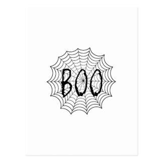 Boo geschrieben in Spinnennetz Postkarte