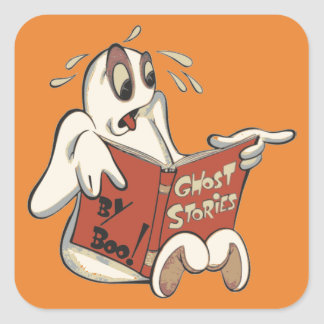 Boo-Gespenstergeschichteaufkleber Quadratischer Aufkleber