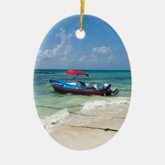 Boot auf Playa del Carmen Ovales Keramik Ornament