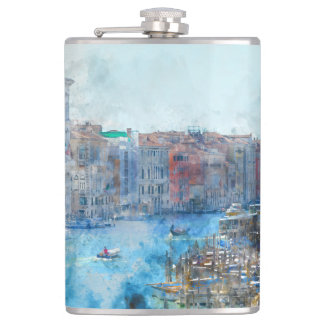 Boote im Canal Grande in Venedig Italien Flachmann