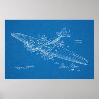 Boots-Flugzeug-Patent-Kunst 1930, die Druck Poster