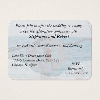 Boots-Hochzeits-Empfangs-Einladungs-Einschließung Visitenkarte