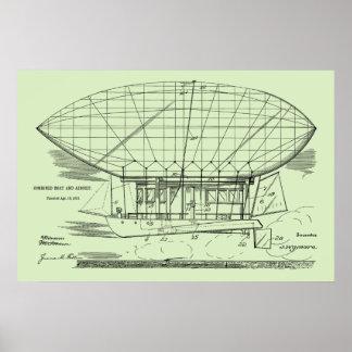 Boots-Luftschiff-Ballon-Patent-Kunst 1912, die Poster