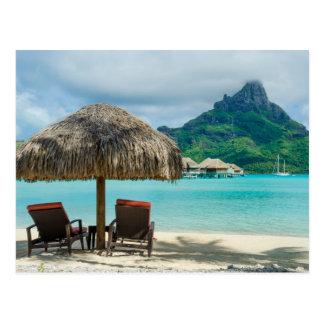 Bora Bora Strandstuhlpostkarte Postkarte