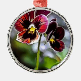 Bordeauxpansy-Blumen-Duo Silbernes Ornament