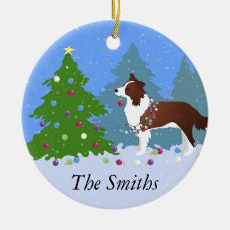 Border-Collie-Hund, der Weihnachtsbaum verziert Keramik Ornament