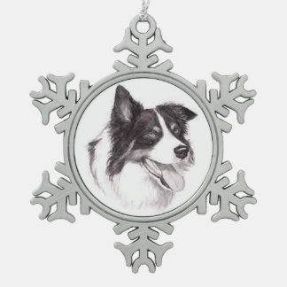 Border-Collie-Hundekunst-Verzierung Schneeflocken Zinn-Ornament