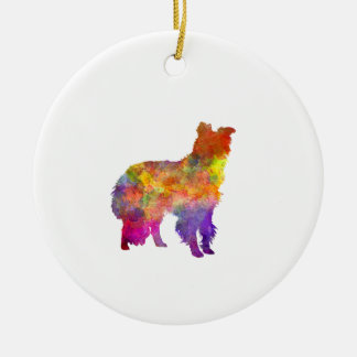 Border Collie im Watercolor Keramik Ornament
