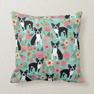 Boston-Terrier-Girly Vintage Blumen drucken - Kissen