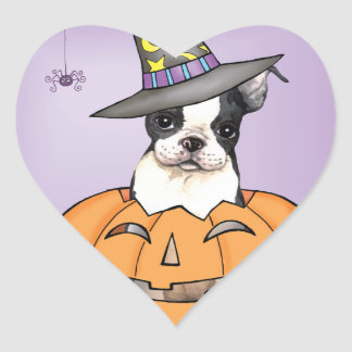 Boston Terrier Halloween Herz-Aufkleber