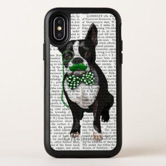 Boston Terrier mit dem grünen Schnurrbart und OtterBox Symmetry iPhone X Hülle