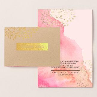 Botanische | Goldfolien-Hochzeit danken Ihnen Folienkarte