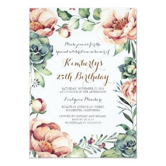 Botanischer Fallblumenwatercolor-Geburtstags-Party 12,7 X 17,8 Cm Einladungskarte