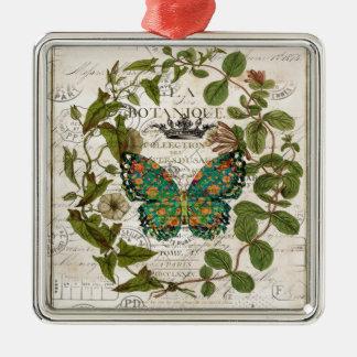 botanischer Monarchfalter des französischen Landes Quadratisches Silberfarbenes Ornament