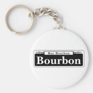 Bourbon-St., New- OrleansStraßenschild Standard Runder Schlüsselanhänger