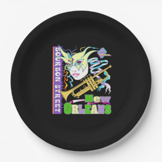 Bourbon-Straßen-Karneval-Party-Papierplatte Pappteller 22,9 Cm