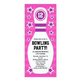 Bowlings-Button-Geburtstags-Party Einladung mit St