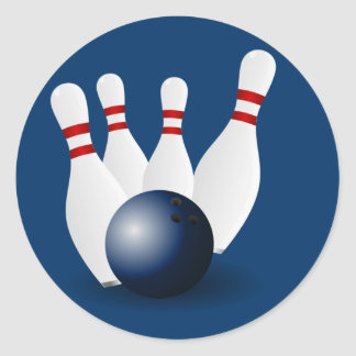 Bowlings-Buttone und Ball Runder Aufkleber