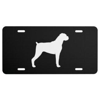 Boxer-HundeSilhouette (natürliche Ohren) US Nummernschild
