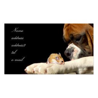 Boxer mit Hamster-Visitenkarte