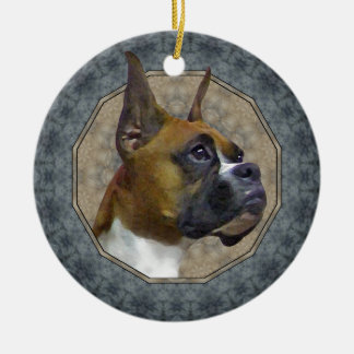 Boxer Rundes Keramik Ornament