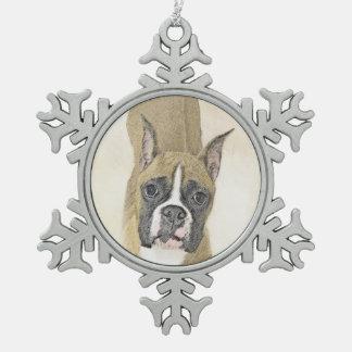 Boxer Schneeflocken Zinn-Ornament