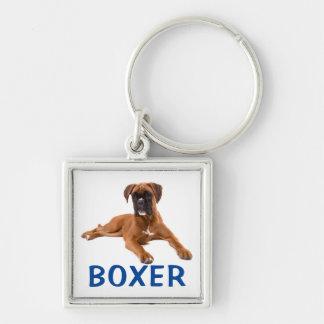 Boxer-Welpen-Hundeblaue Liebe Keychain Silberfarbener Quadratischer Schlüsselanhänger