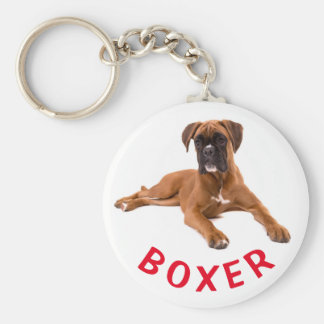 Boxer-Welpen-Hunderote Liebe Keychain Schlüsselanhänger