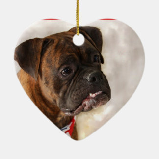 Boxerhund Keramik Herz-Ornament