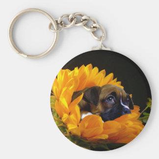 Boxerwelpe in Sonnenblume keychain Schlüsselanhänger