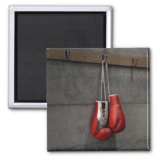 Boxhandschuhe, die im Änderungs-Raum hängen Quadratischer Magnet