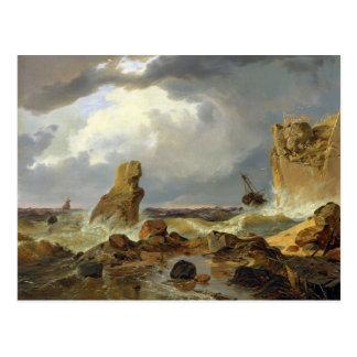 Brandung auf einer felsigen Küste, 1835 Postkarte